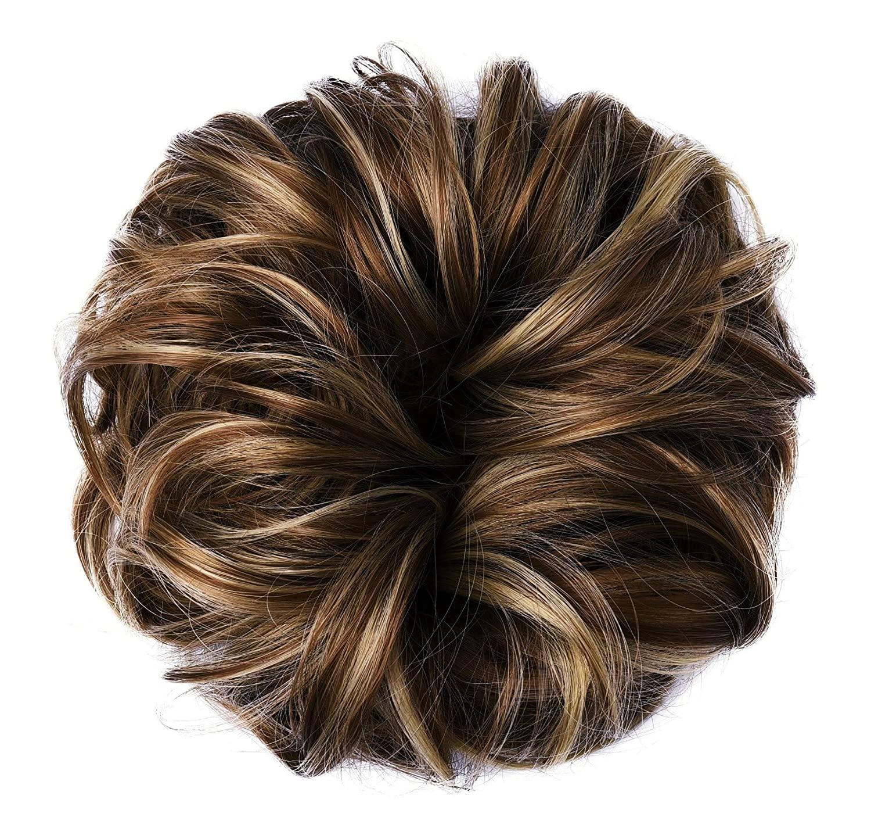 BAFAHO 머리빵이 지저분한 머리 SCRUNCHIES 곱슬 묶은 확장자의 합성 도넛빵 머리 조각이 여성