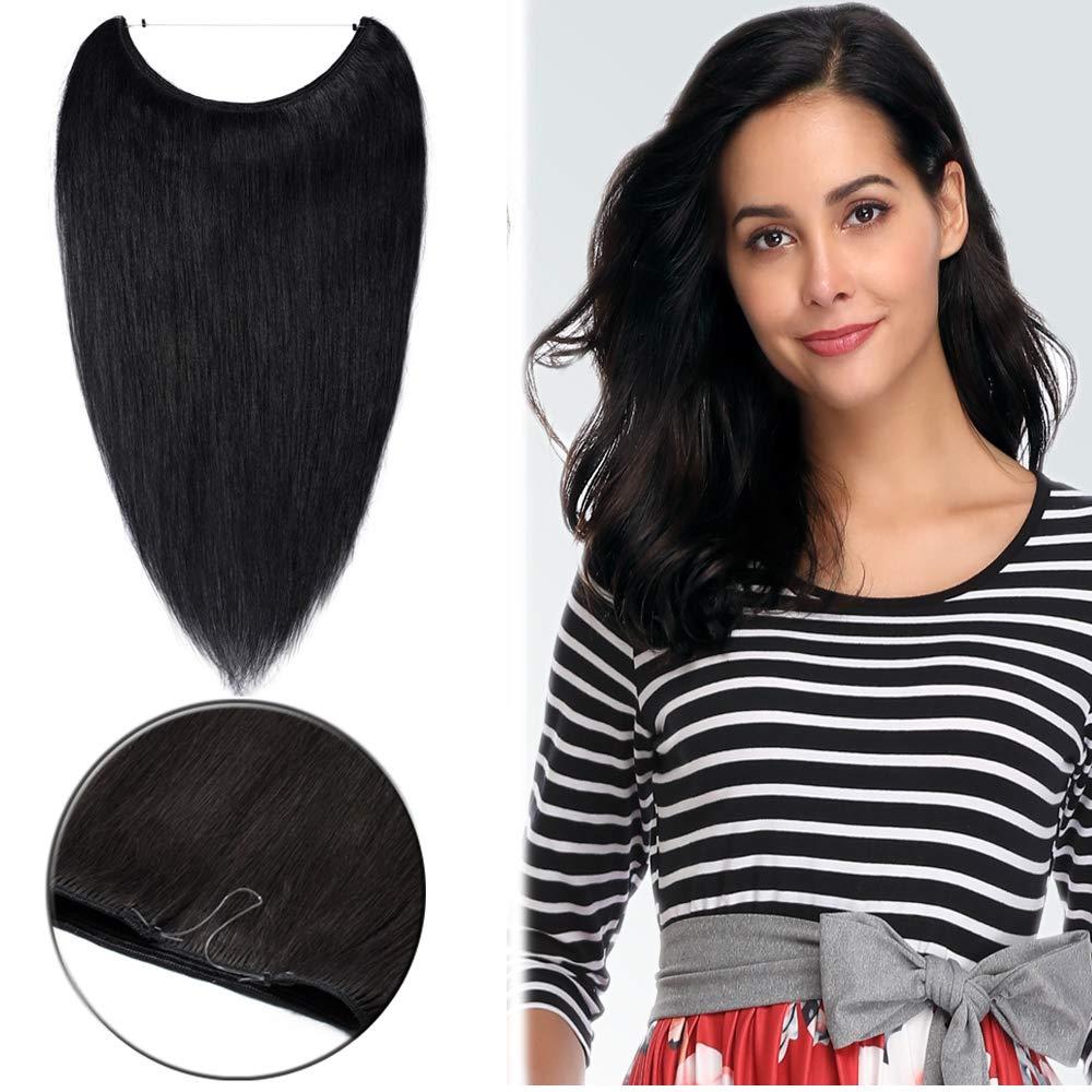 18 인치 와이어 확장자를 100%사람의 머리에 대한 여자 1 제트 블랙  물고기 라인에 숨겨진 크라운 부분 바 65G 얇은 보이지 않는 머리 연장 접착제 없는 클립
