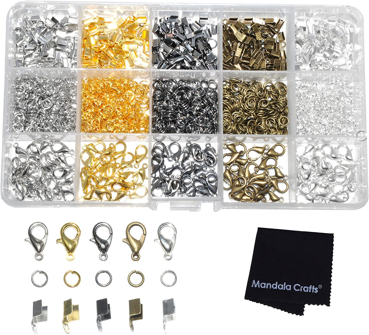RIBBON CRIMPS FOR JEWELRY MAKING RIBBON CLAMPS FOLD OVER CORD ENDS JEWELRY FINDING KIT FOR BRACELETS BOOKMARKS 5 COLORS 3 X 6MM