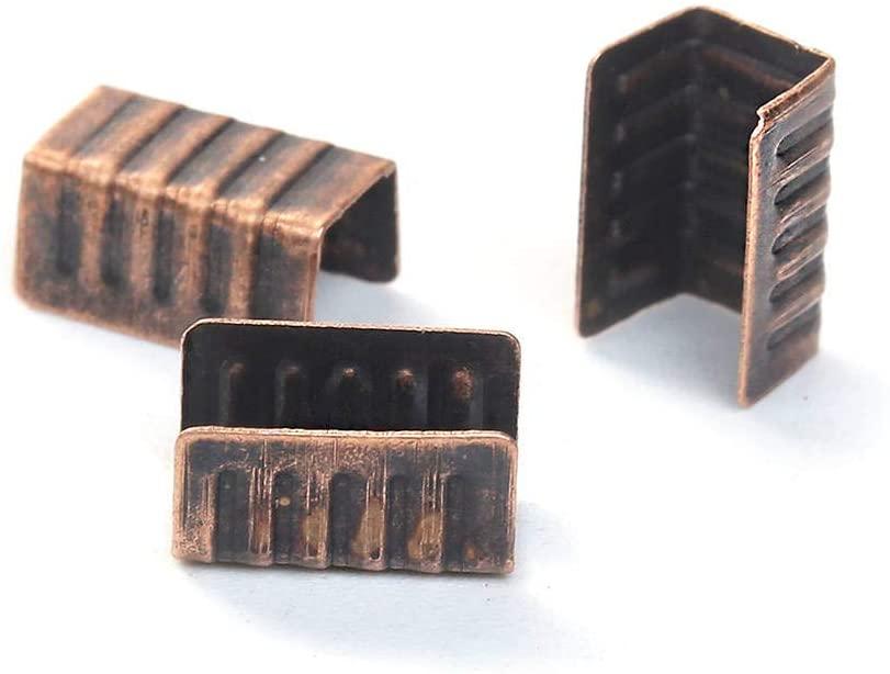 50 ANTIQUE COPPER TONE CORD ENDS - 8MM X 5MM - FD507