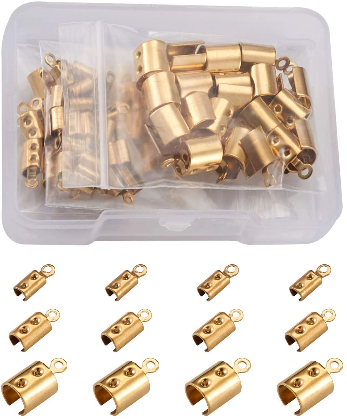 MEGA PET 60PCS STAINLESS STEEL FOLD OVER CRIMP CORD ENDS GOLDEN FOLDING LEATHER RIBBON ENDING CLASP TIPS END CLAMP 3   4   6.5MM FOR CONNECTOR COMPONENTS JEWELRY MAKING