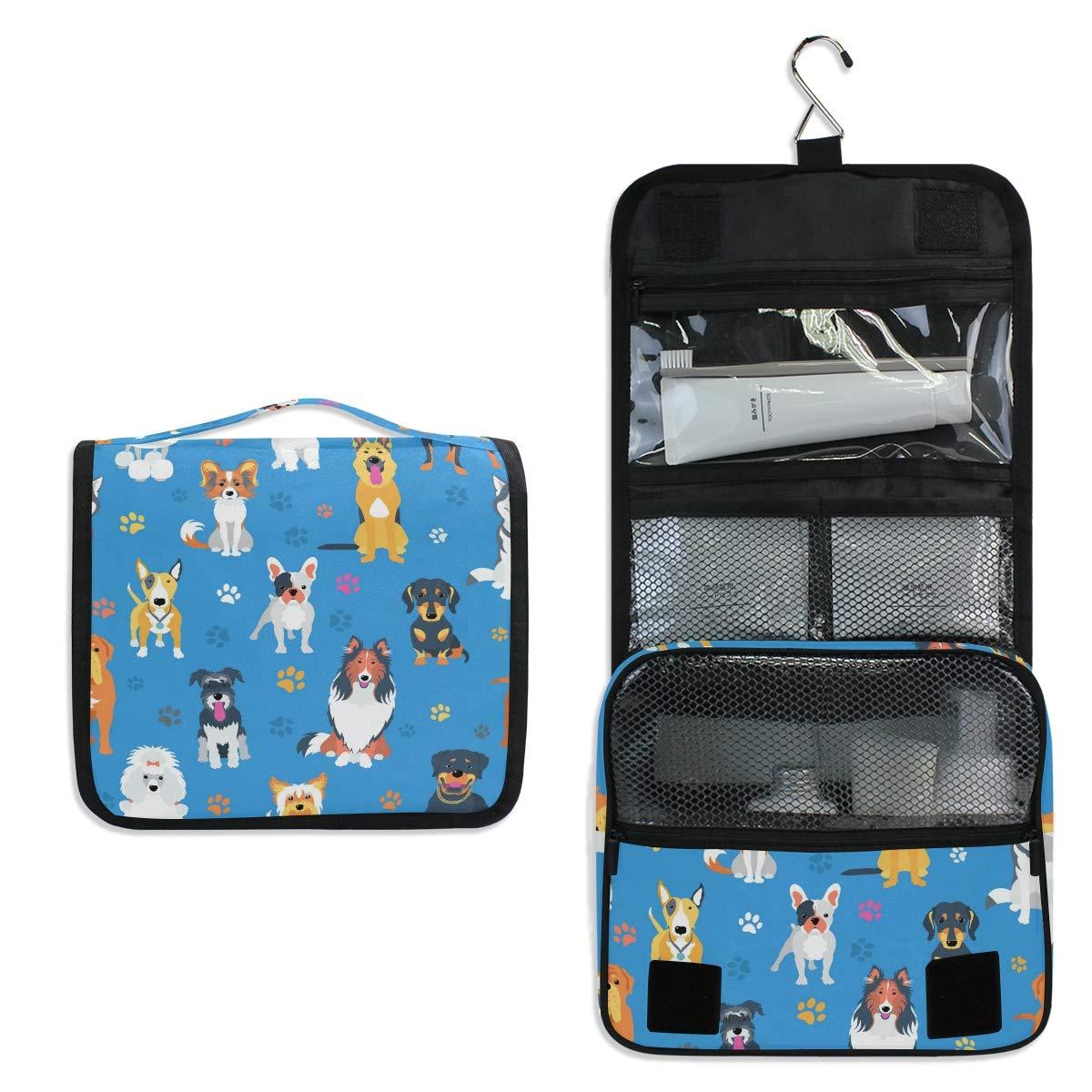 KUWT 거는 세면용품 부대 동물의 개 발 인쇄 화장용 여행 가방 휴대 메이크업을 주최자에 대한 화장품 세면도구 여행용 액세서리