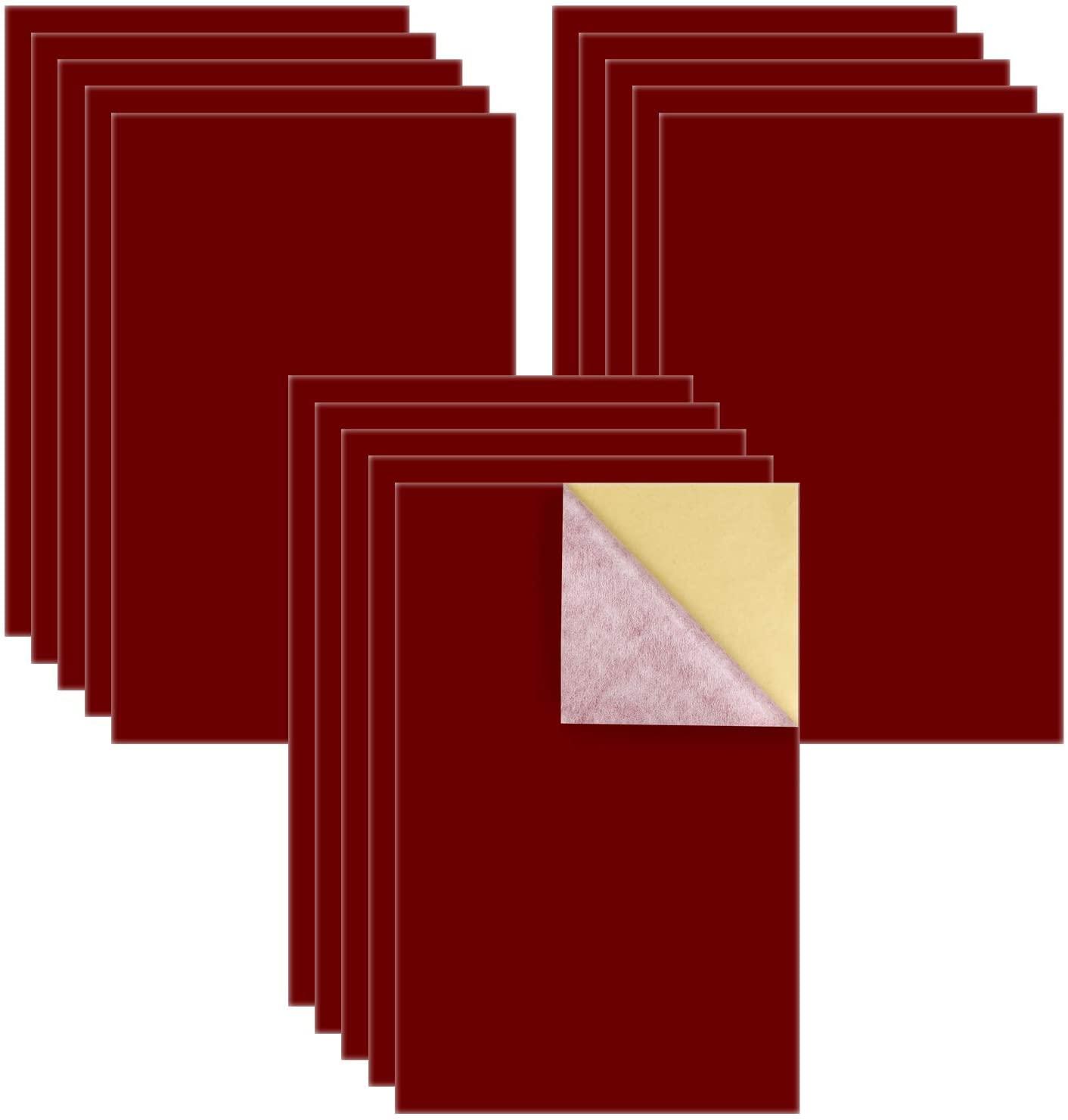15PCS 레드 벨벳 패브릭 끈적 끈적한 다시 접착제 백 시트 보석 서랍 공예 직물과 공예 제작을위한 셀프 접착제 벨벳 패브릭 (8.3 X 11.8) A4 시트