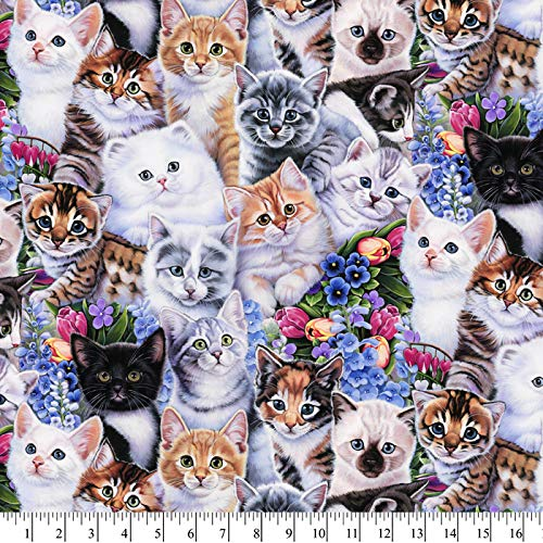 CATS & KITTENS COTTON FABRIC BY THE YARD