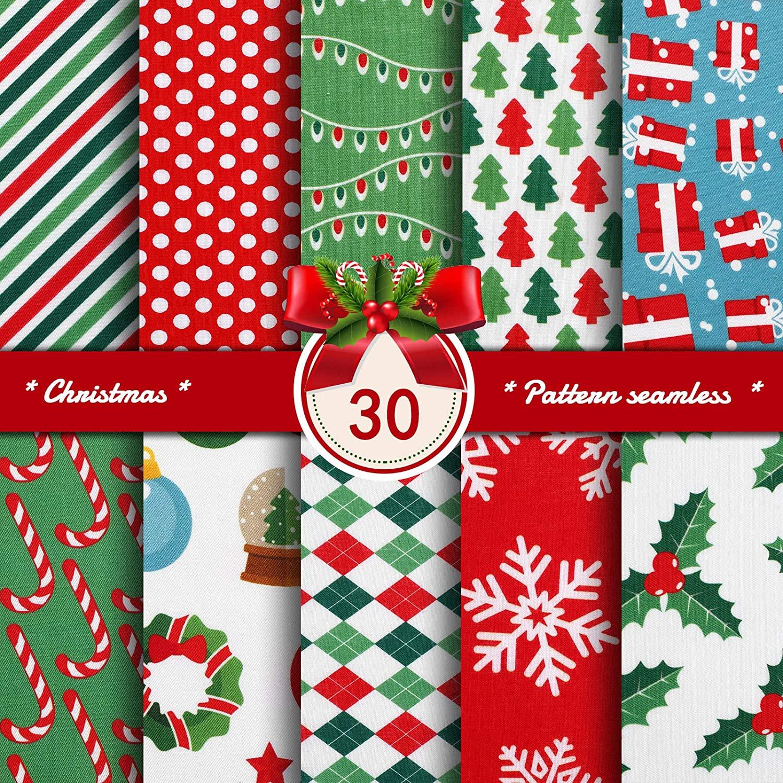 30 개 크리스마스 패브릭 크리스마스 지방 분기 바느질 직물 번들 9.84 X 9.8 인치 크리스마스 눈송이 프린트 빨간 녹색 직물 바느질 패치 워크 래퍼