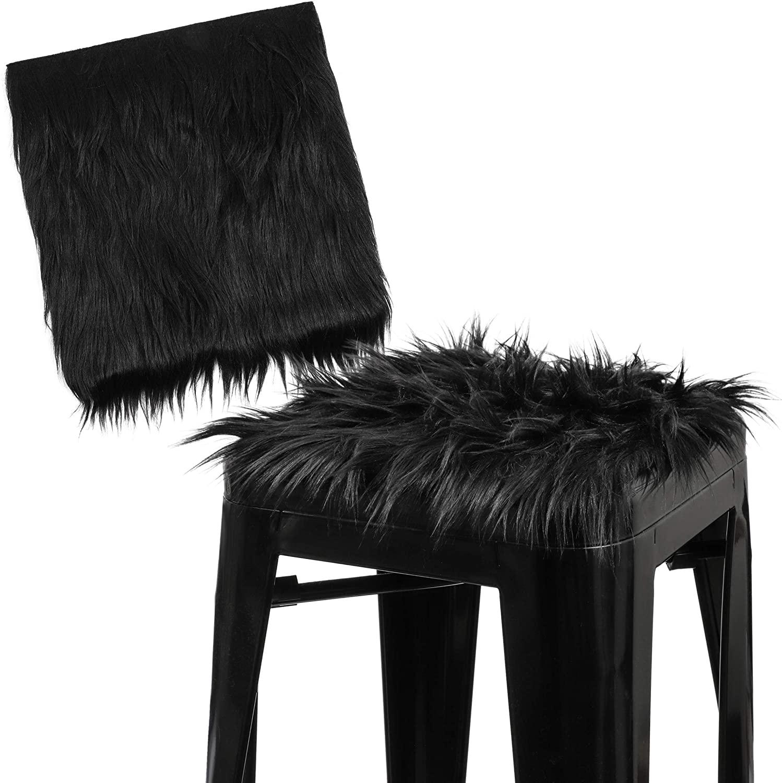 공예 바느질 의상 좌석 패드를위한 검은 인조 모피 패브릭 스퀘어 패치 (10 X 10 IN 2 팩)