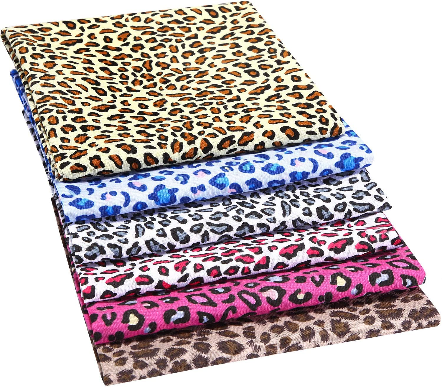 6 PIECES 19 X 19 INCH LEOPARD PRINT FABRIC ANIMAL LEOPARD QUILTING FABRIC COTTON PATCHWORK SQUARES BUNDLE SEWING CRAFT FABRIC FOR HANDMADE CRAFT MAKING SUPPLIES
