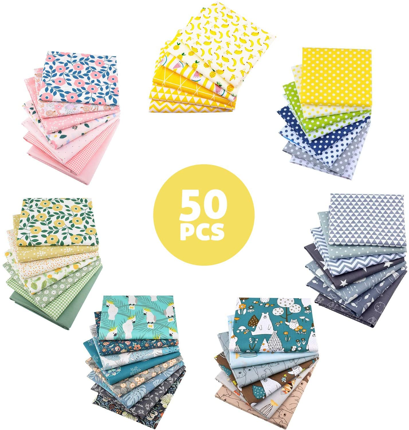 AUBLISS 50PCS QUILTING COTTON CRAFT FABRIC BUNDLE (100% COTTON - 9.8IN X 9.8IN | 25CM X 25CM) PRE-CUT SQUARES SHEETS PRINTED FLORAL SEWING SUPPLIES FOR PATCHWORK SEWING DIY CRAFTING QUILTING