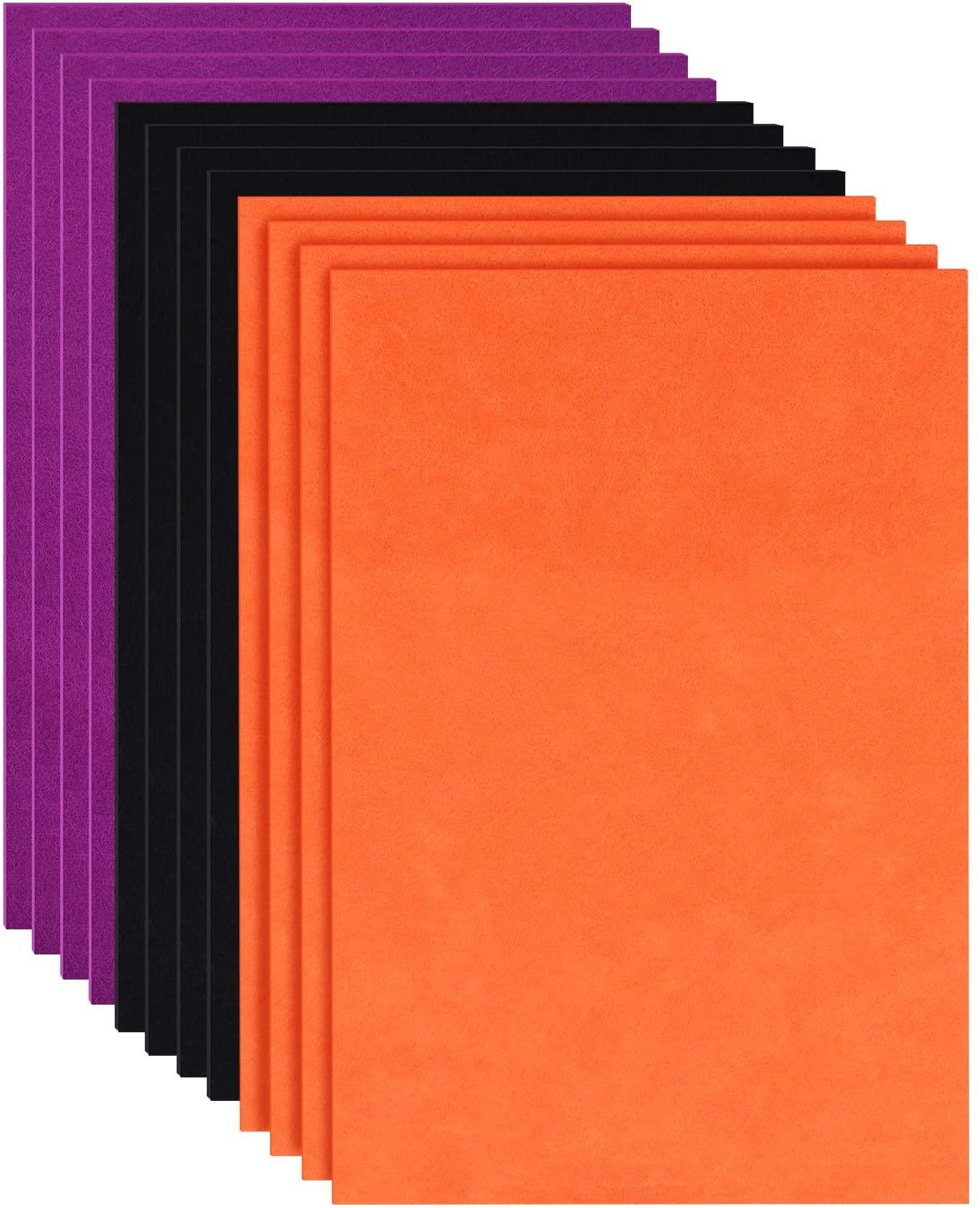 12 개 할로윈 펠트 패브릭 시트 DIY 공예 펠트 패브릭 시트 3 색상 할로윈 바느질 패치 워크 장식직물을 느꼈다 11.8 X 8.3 인치