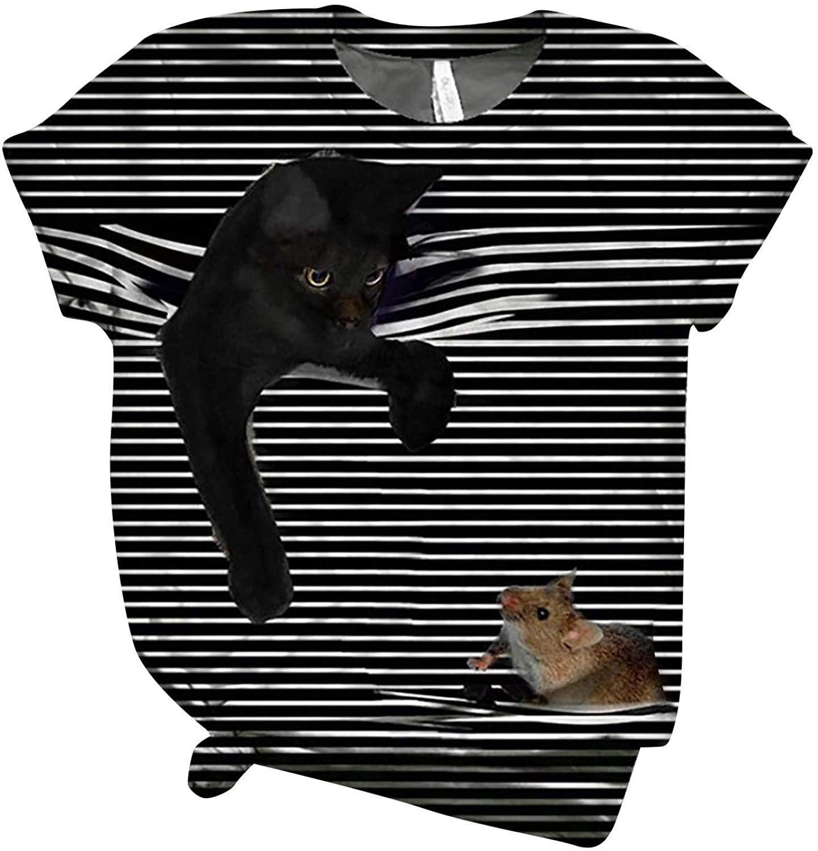 플러스 여성용 튜닉 탑 티셔츠 블랙 캣 캐치 마우스 셔터 3D 프린트 반소매 O 넥 블라우스