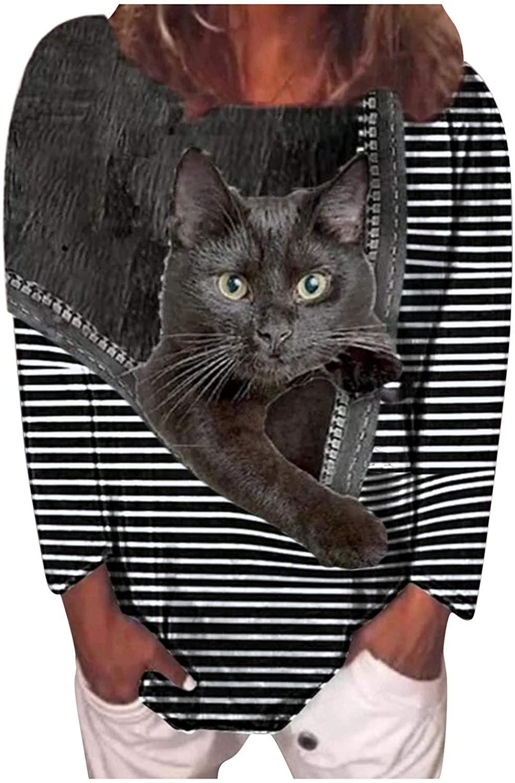 여성을 위한 탑스 티셔츠 블랙 캣 지퍼 스트라이프 3D 프린트 라운드 넥 롱 슬리브 루즈 풀오버 블라우스
