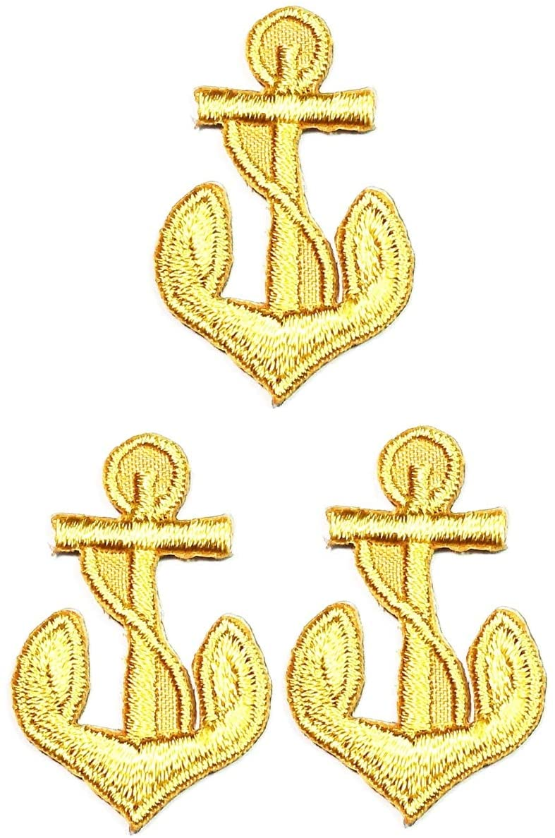 UMAMA PATCH SET OF 3 MINI ANCHOR EMBROIDERY PATCH GOLD ANCHOR CAPTAIN SAILOR STICKER CARTOON IRON ON APPLIQUE PATCHES CRAFT DIY CLOTHES JEANS T-SHIRT HAT BACKPACKS