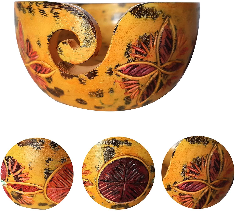 오렌지 나무 원사 그릇 독특한 홈 장식 보관 그릇 골동품 선물 기사 항해 수제 빈티지 룩 - 로얄 보울