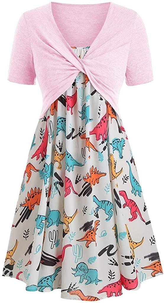 XIA & HAN WOMEN DRESS 패션 반소매 프론트 크리스 크로스 탑 + 플로럴 프린트 미니 드레스 슈트