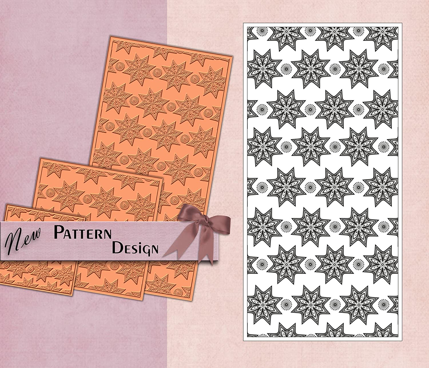 PRINTVALUE POLYMER TEXTURE STAMP ABSTRACT FLORAL PATTERN RUBBER TEMPLATE FABRIC & PAPER DIY CRAFT SUPPLY