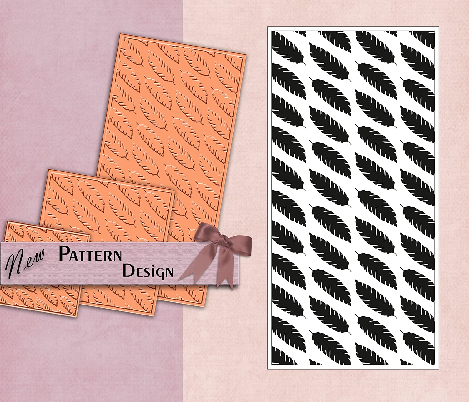 PRINTVALUE POLYMER TEXTURE STAMP LEAF PATTERN FABRIC & PAPER CRAFT DIY SUPPLY FLEXIBLE RUBBER TEMPLATE