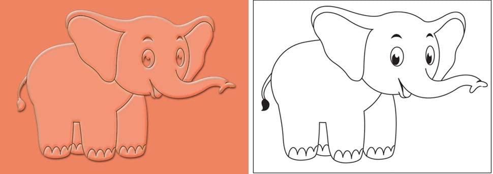 GIFTBLITZ 코끼리 디자인 폴리머 텍스처 고무 플레이트 점토 직물 종이 DIY 공예 용품