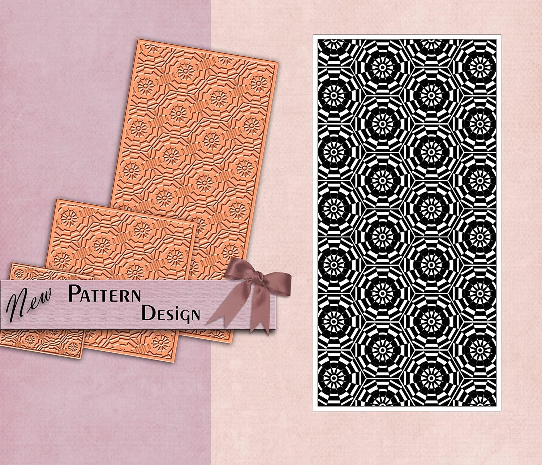 PRINTVALUE 폴리머 고무 텍스처 스탬프 기하학적 패턴 공예 템플릿 직물 및 종이 DIY 공급 유연한 고무 템플릿