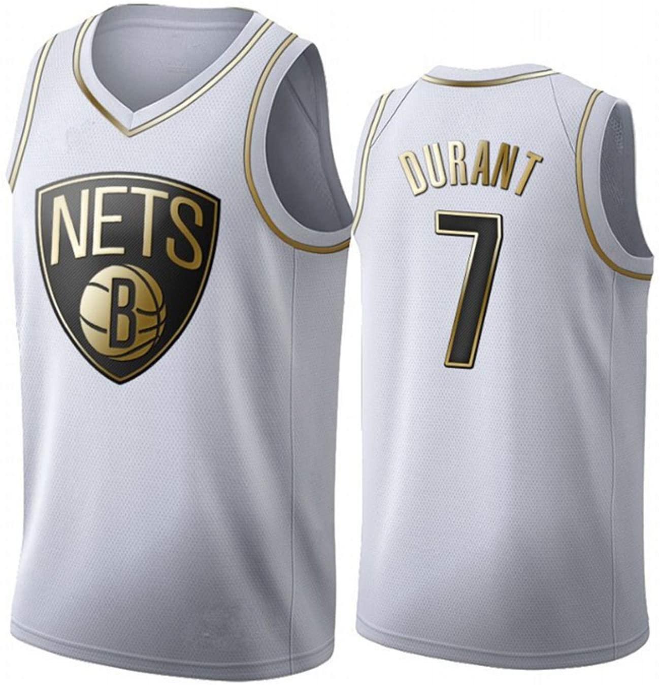 WEIXIA 브루클린 듀란트 7 농구 저지 기념 조끼 편안하고 통기성 농구 저지 화이트4-M에 적합